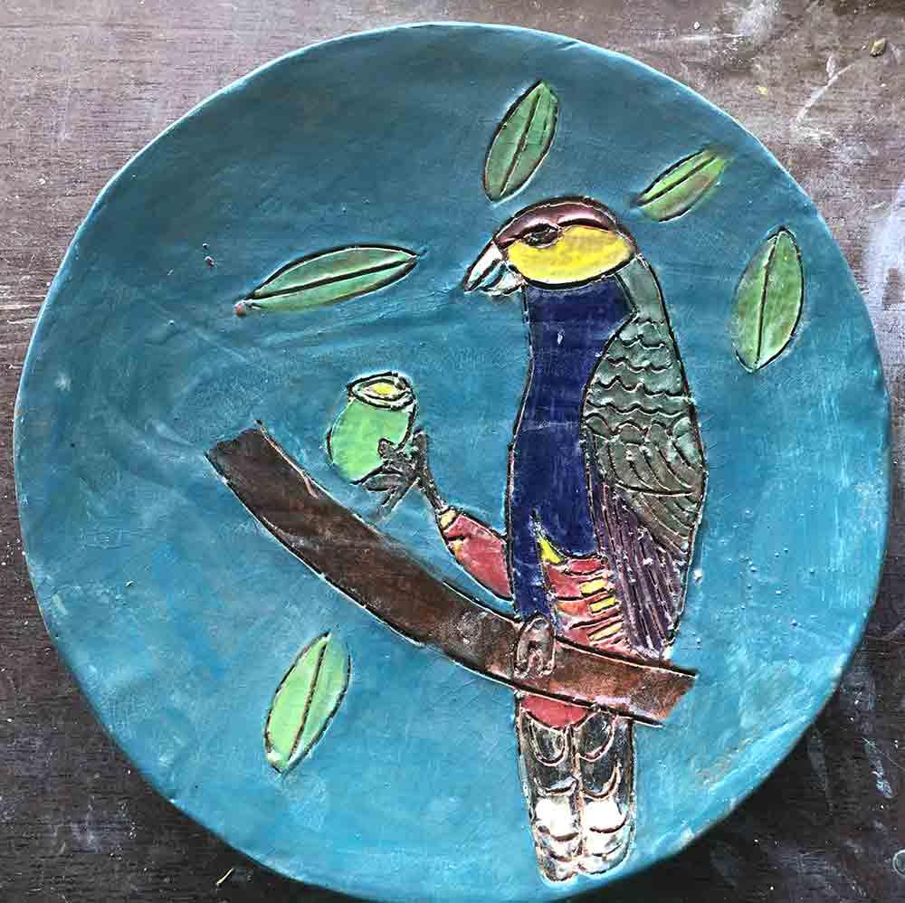 Teal Parrot Plate zion levy Stewart Art and Ceramics