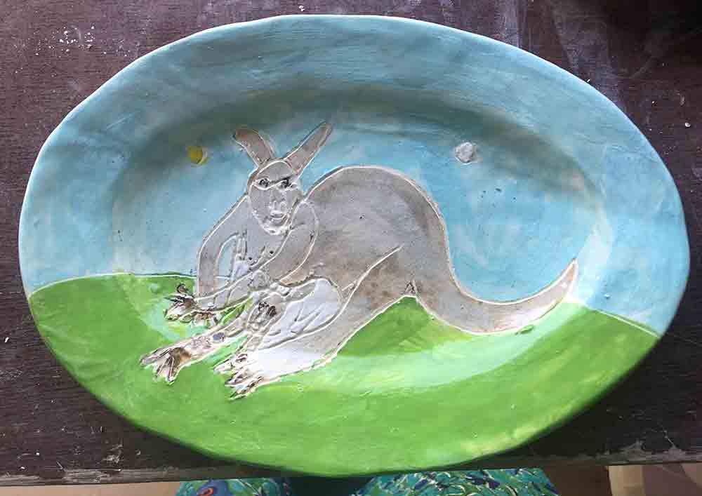 Wallaby Blue Plate Zion Levy Stewart Original handmade Ceramics and Art