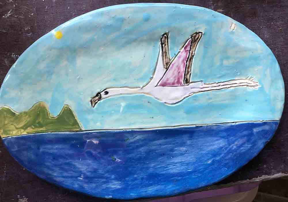 Flamingo Sea Plate Zion Levy Stewart Art and Ceramics