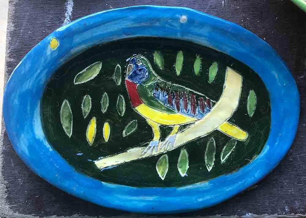 Rainbow Lorikeet Plate Zion Levy Stewart Art and Ceramics