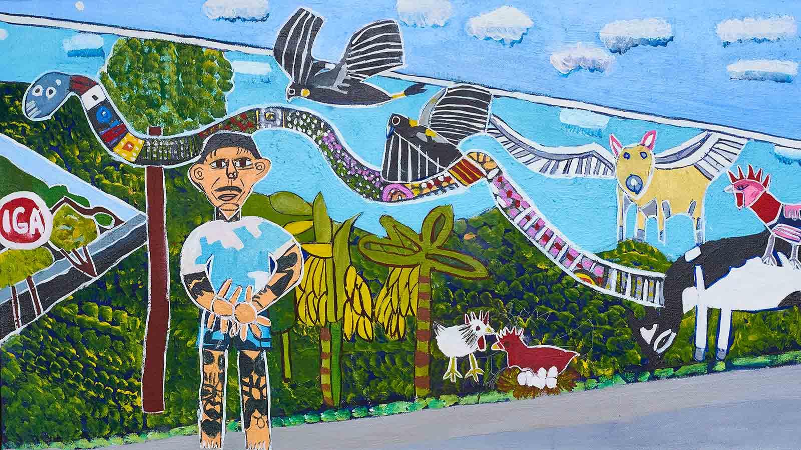 Daniel Hend Mural Painting by Zion levy Stewart Artist Mullumbimby