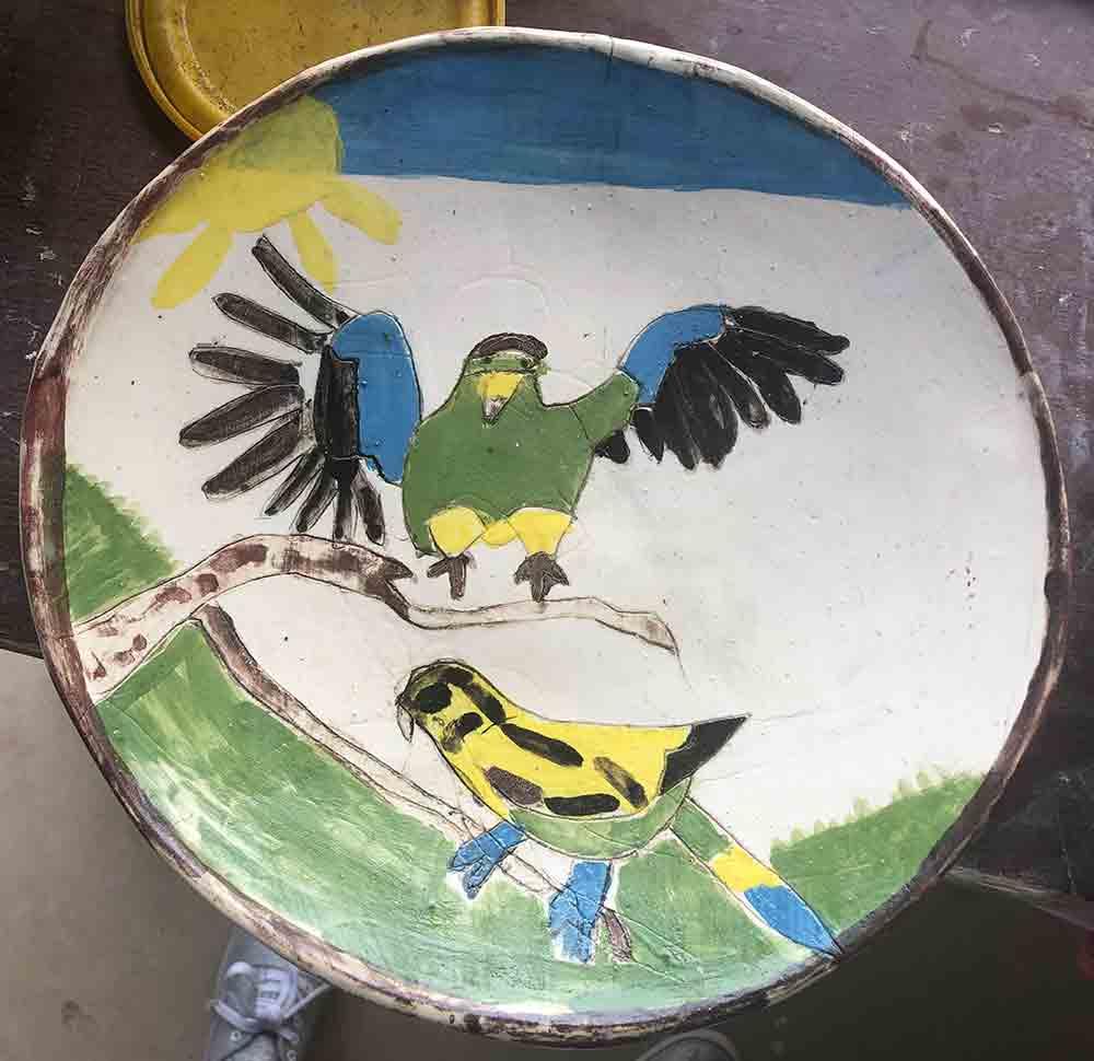 Flying Parrot Plate Zion Levy Stewart Mullumbimby Artist