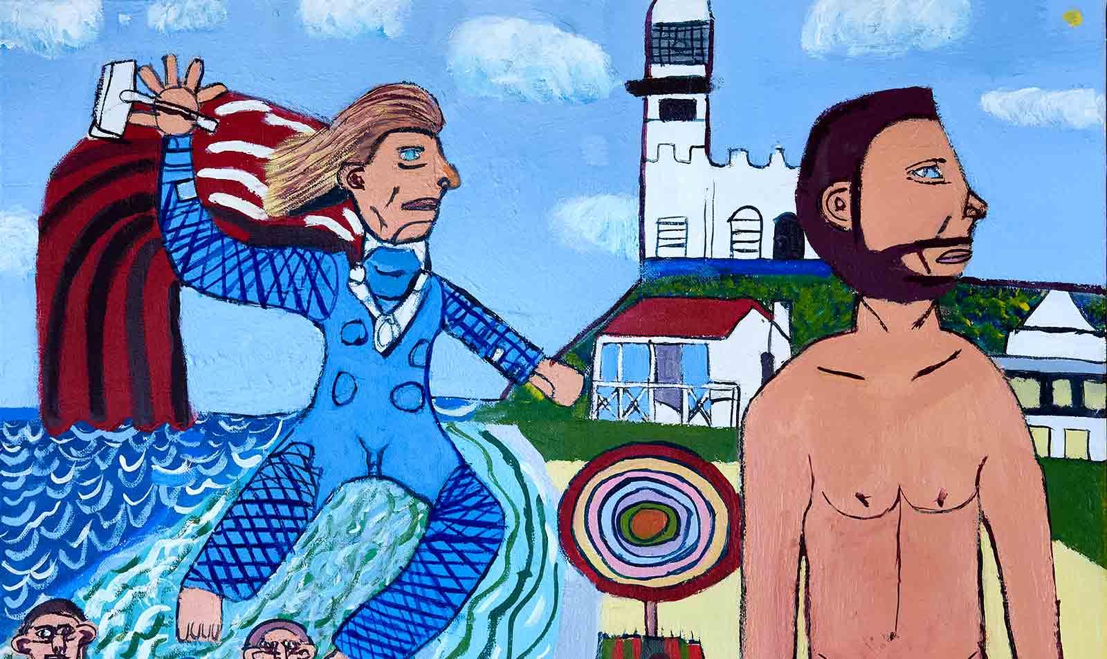 Chris Hemsworth and Thor at Wategos Beach Zion Levy Stewart Artist Mullumbimby