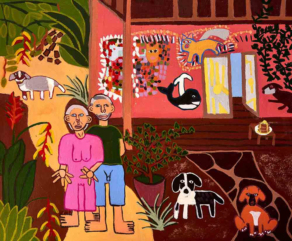 Arlee and Niel Bryant commission at their home in Northern Rivers. Painting by Zion Levy Stewart.