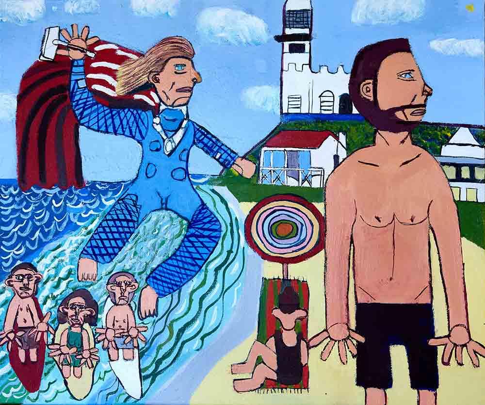 Chris Hemsworth and Thor at Wategos Beach