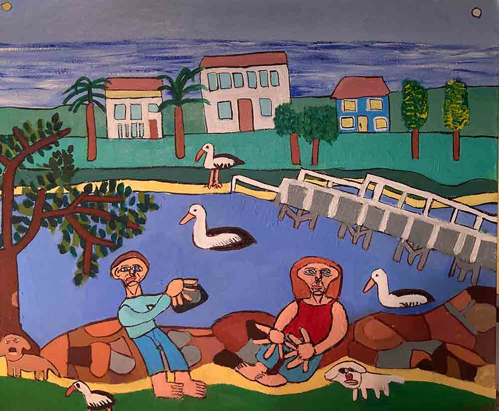 Pelicans at Brunswick heads Painting by Zion Levy Stewart.