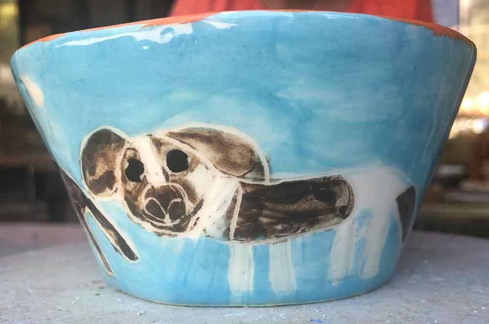 Doggie Dish hand painted with love by Zion Levy Stewart at Paradise Studio Mullumbimby New South Wales Australia.