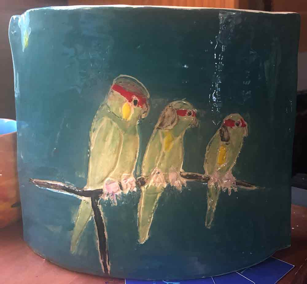 Five Parrot Vase hand painted by Zion Levy Stewart at Paradise Studio Mullumbimby New South Wales Australia.