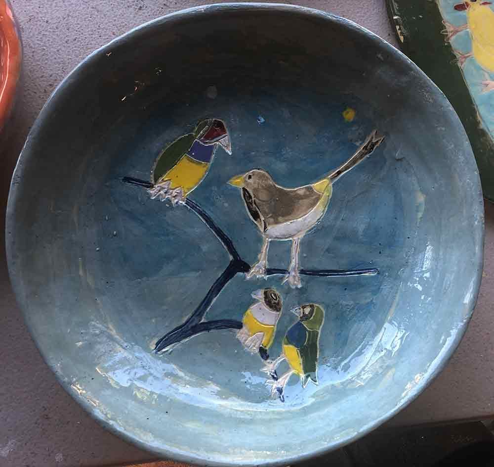 Gouldian Finch Bowl by Zion Levy Stewart at Paradise Studio Mullumbimby New South Wales Australia