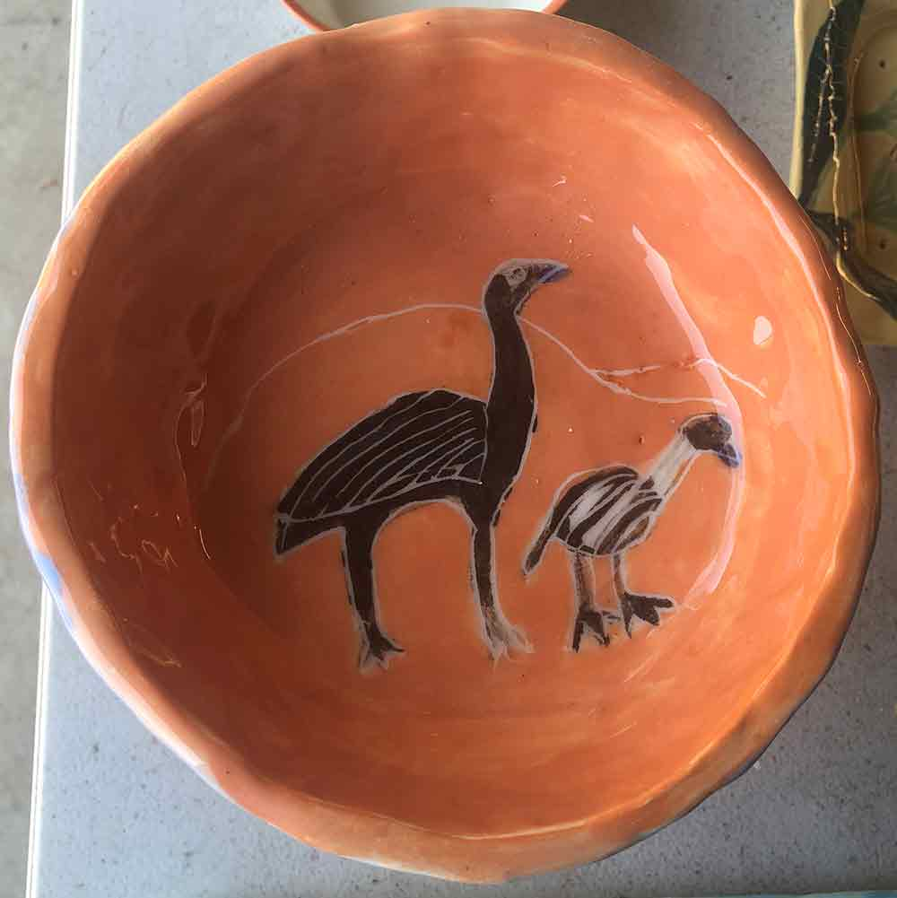 Handmade ceramic orange emu bowl hand painted by Zion Levy Stewart. Great for serving your favourite food or as a gift.