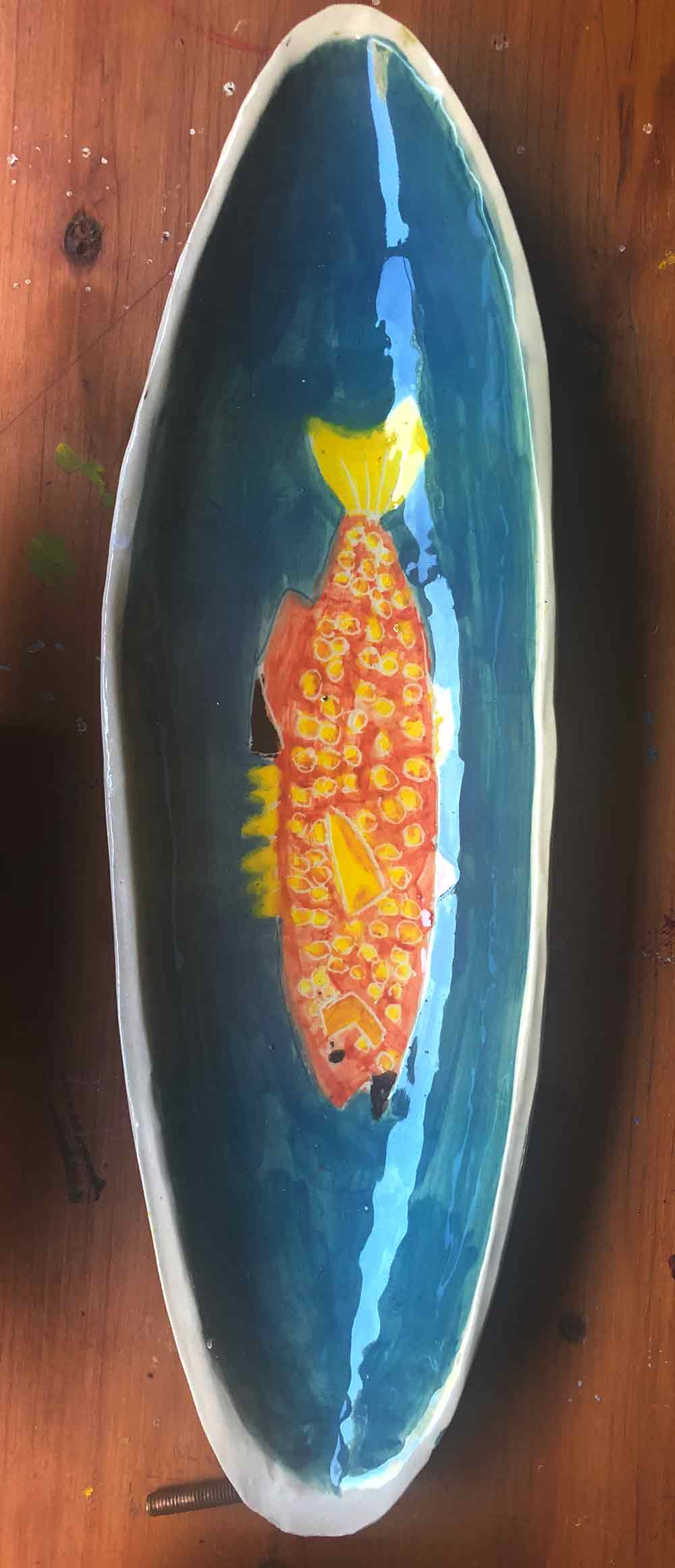 Ceramic salmon dish for serving your fish or snacks. Painted by Zion Levy Stewart Portrait painter and ceramic artist.