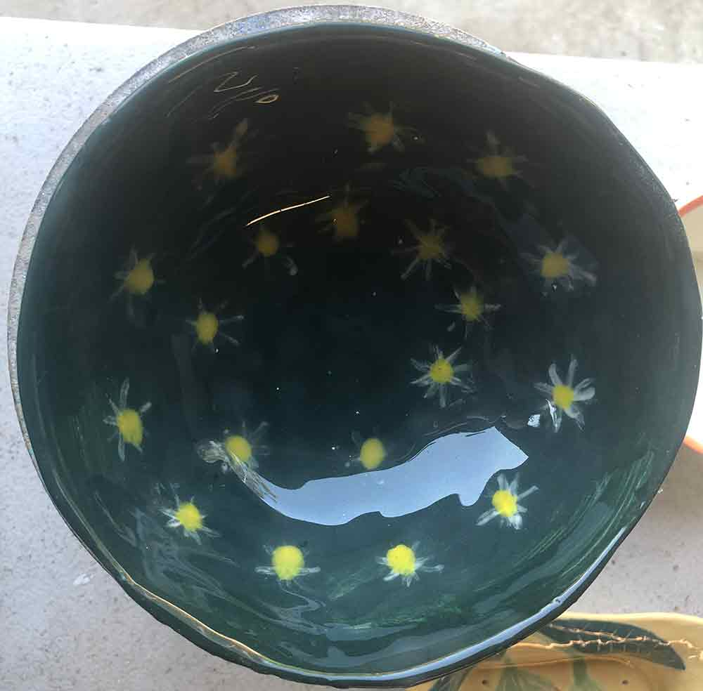 Teal Star bowl handmade ceramic by Zion Levy Stewart an artist creating in Paradise Studio Mullumbimby New South Wales Australia.