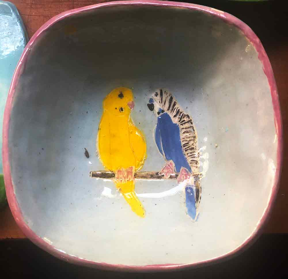 Two Budgie Bowl handmade ceramic artwork by Zion Levy Stewart. Created at his Paradise Studio in Mullumbimby Australia.