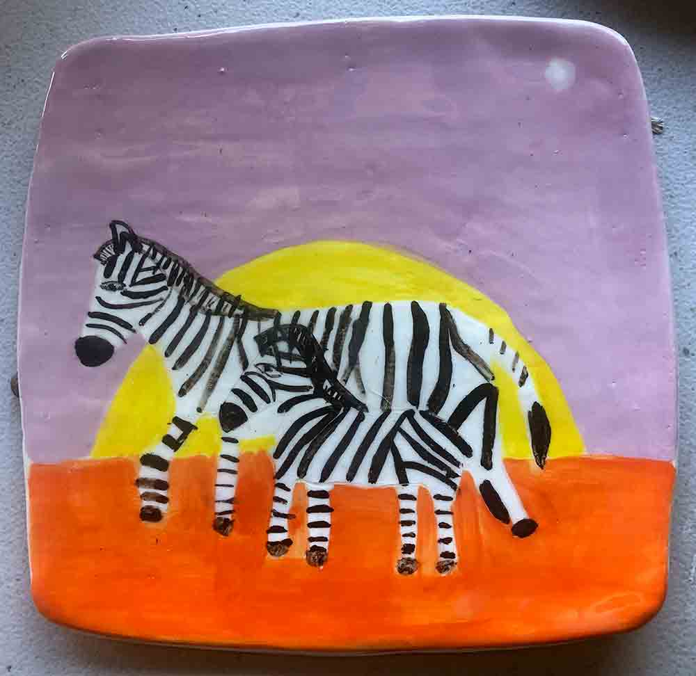 Zebra Sunrise Plate Zion Levy Stewart Ceramics and Paintings